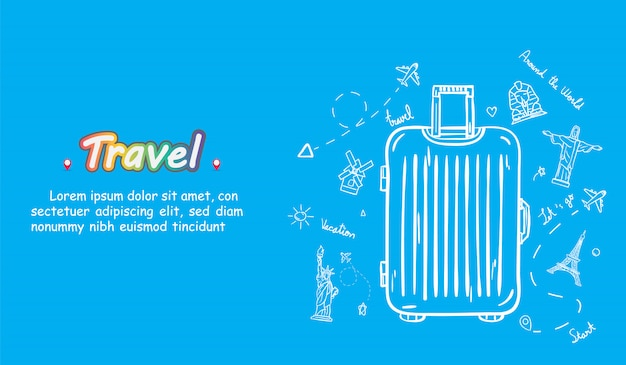 Doodle hand draw traveler with luggage. plane check in point travel accessories around the world.