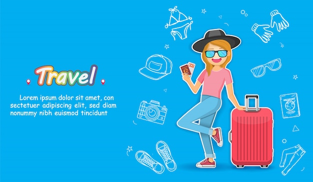 Doodle hand draw woman cute cartoon traveler with luggage and accessories asset