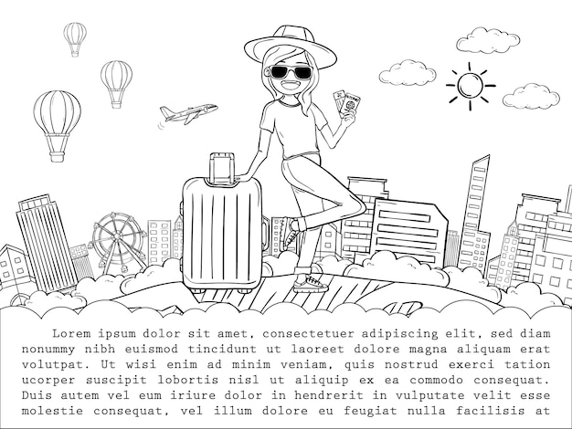Doodle hand draw woman cute cartoon traveler with luggage travel around the world concept. hand draw,
