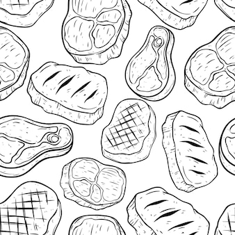 Doodle or hand drawing beef steak in seamless pattern