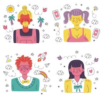 낙서 손으로 그린 아바타 스티커 컬렉션