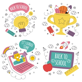 Doodle hand drawn back to school stickers