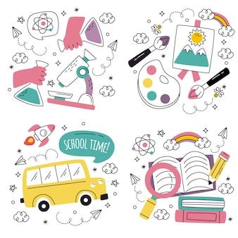 Doodle disegnato a mano di nuovo agli adesivi della scuola
