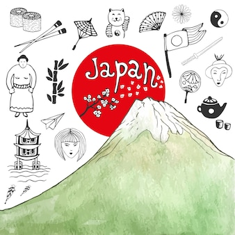 Doodle hand drawn collection of japan icons with watercolor mountain. japan culture elements for design. vector illustration.