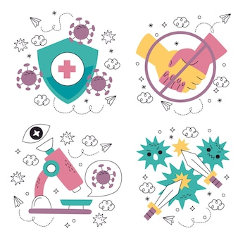 Raccolta disegnata a mano dell'illustrazione degli autoadesivi del coronavirus di scarabocchio