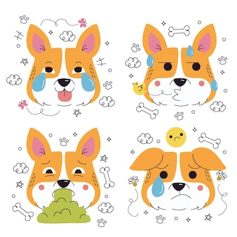 Doodle hand drawn dog emoticons stickers collection