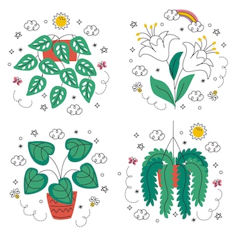 手描きの花や植物のステッカーセットを落書き