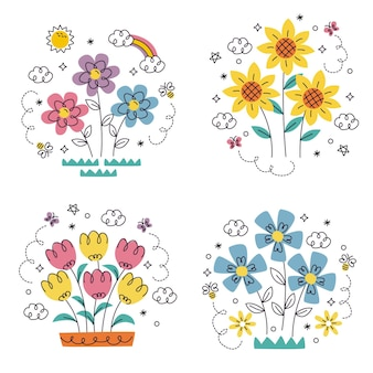 Doodle hand drawn flowers and plants stickers set