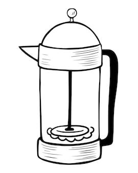 Каракули рисованной французской прессы. френч-пресс - простое устройство для заваривания кофе. заварочный металлический чайник для горячих напитков. для раскраски, канцелярских товаров, принта, плаката, наклеек, открыток, меню кафе