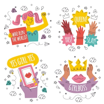 Collezione di adesivi di potere della ragazza disegnati a mano di doodle