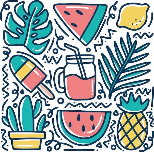 Каракули рисованной гавайской коллекции свежих фруктов с иконами и элементами дизайна