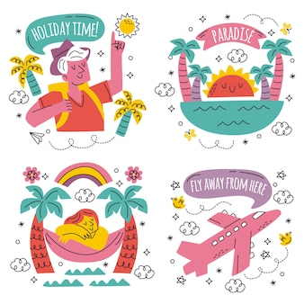 Doodle hand drawn holiday stickers