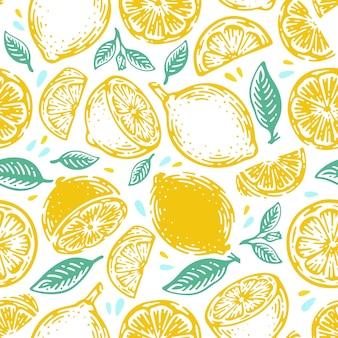 낙서 손으로 그린 라임과 레몬 완벽 한 패턴입니다. 열대 여름 감귤류 과일 빈티지 스타일.