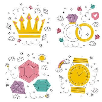 Doodle hand drawn luxury stickers