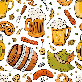 Doodle hand drawn oktoberfest seamless pattern. beer beverages retro cartoon pattern with seamless background