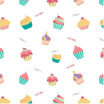 Doodle hand drawn rainbow cute cup cake seamless pattern