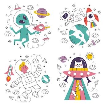 Doodle adesivi di fantascienza disegnati a mano