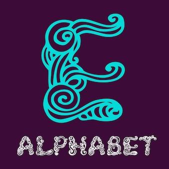 낙서 손으로 그린 스케치 알파벳입니다. 편지 e