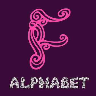 낙서 손으로 그린 스케치 알파벳입니다. 편지 f