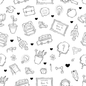 Doodle or hand drawn style of school icons seamless pattern