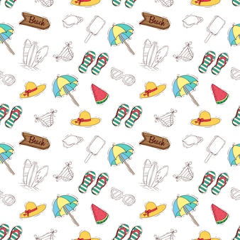 Doodle or hand drawn style of summer elements in seamless pattern