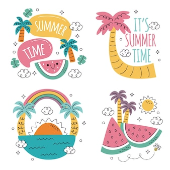 Doodle hand drawn summer stickers collection