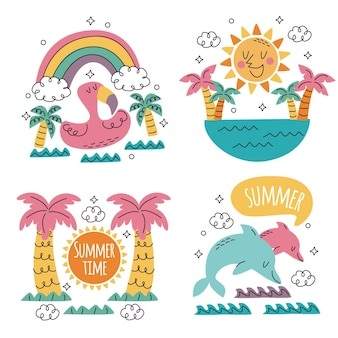 Doodle hand drawn summer stickers