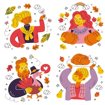 Doodle hand drawn thanksgiving stickers