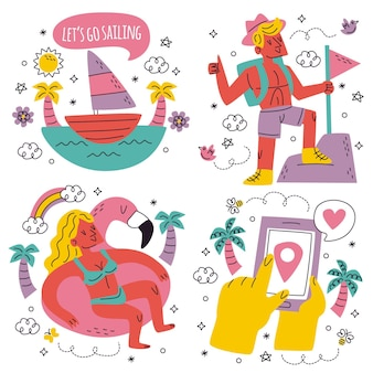 Doodle hand drawn travel stickers collection
