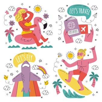 낙서 손으로 그린 여행 스티커 컬렉션