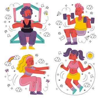 Doodle hand drawn workout stickers