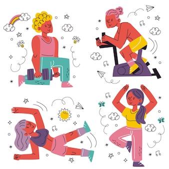 Каракули рисованной наклейки тренировки