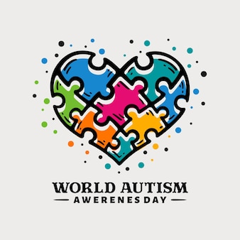 Doodle hand drawn world autism awareness day with puzzle pieces heart shape
