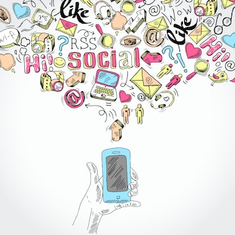 Doodle hand holding mobile smartphone with blog social media and communication applications symbols vector illustration