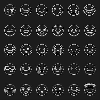 Doodle белые смайлики с различными эмоциями на черном фоне вектор набор различных handdrawn наброски милые выражения