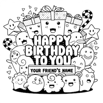 Doodle happy birthday greeting cards