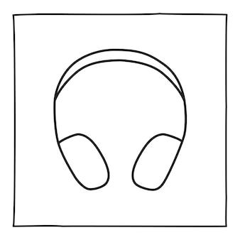 落書きヘッドフォン電話のアイコンまたはロゴ、細い黒い線で手描き。