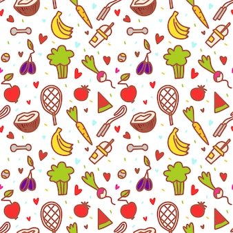 Doodle healthy elements. fruit, gum, vegetables.  eat what you want day pattern.