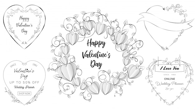 Doodle heart banners in a set of valentine's day and wedding elements