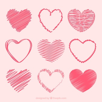 Doodle heart collection