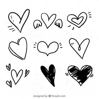 Hand-Drawn Sketch Hearts Valentine's Card Design Vector ...