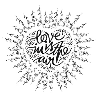 Doodle heart hand drawn, love in is in the air