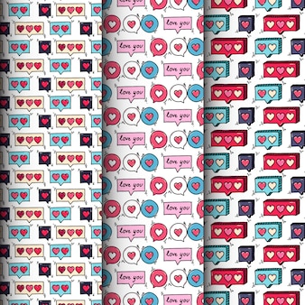 Doodle heart seamless pattern collection