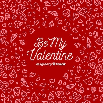 Doodle heart valentine's day lettering background