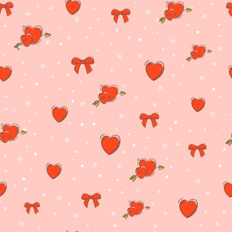 Doodle hearts and bows pattern