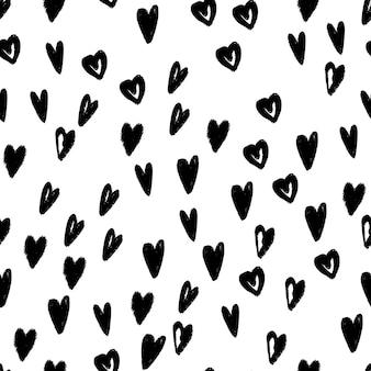 落書きハート手描きシームレスパターン。包装紙、テキスタイルデザイン、壁紙のモダンな背景テクスチャ。ベクトルイラスト