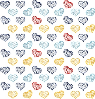 Doodle hearts pattern