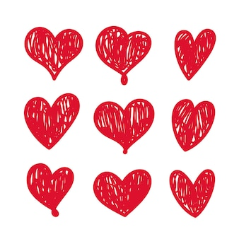 Doodle hearts set isolated on white background. vector hand drawn love heart design elements. clipart objects for decoration.