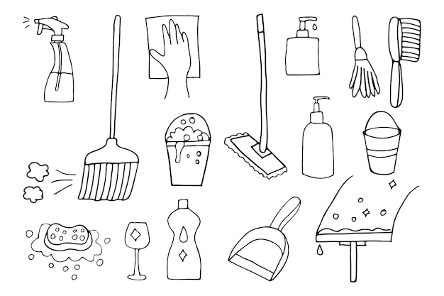 Doodle home cleaning utensils icons set in vector. hand drawn home cleaning utensils icons