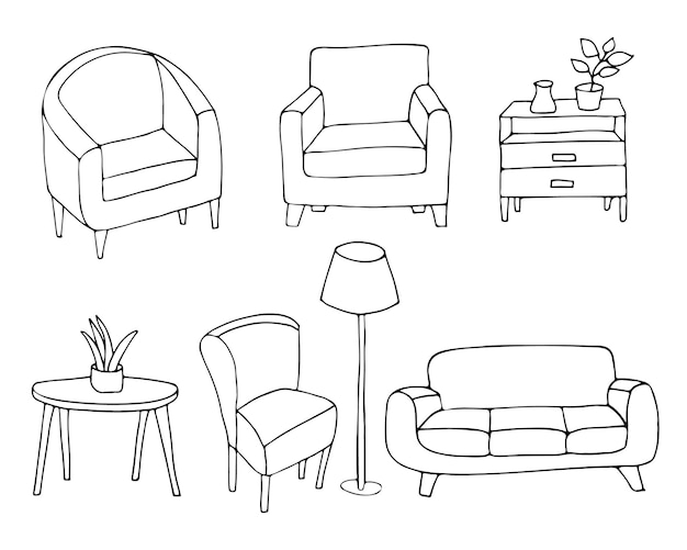 ベクトルで家の家具のアイコンのコレクションを落書き。ベクトルで手描きの家庭用家具コレクション。